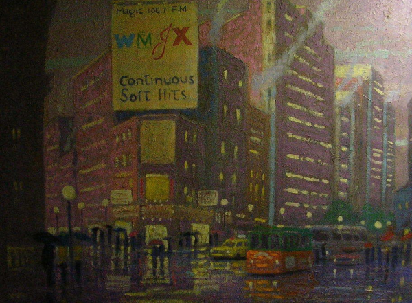 An oil painting of Copley Square Boston, Collection Mr. and Mrs. Richard Cavanaugh