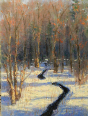 An oil painting of a small brook near my home as the snow begins to thaw.  16 x 12 oil on panel
