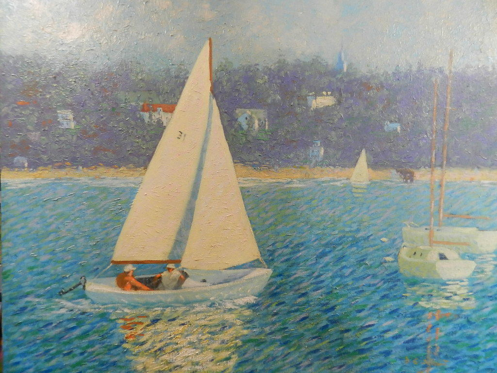 Daysailing in Salem Harbor, 24 x 30 oil on Canvas
