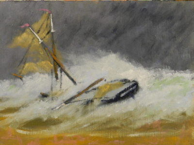 Oil painting of the shipwreck of the Jenny M Carter as described by Edward Rowe Snow, 9 x 12 oil on panel