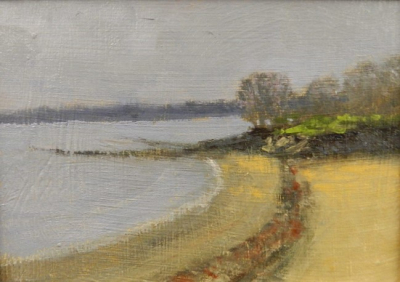 A beach at Salem Willows, Salem, MA 5 x 7 oil on panel