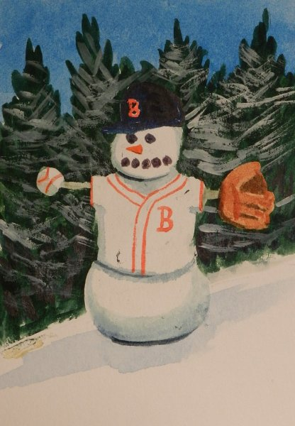 Snowfolk Baseball Note Card