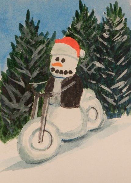 Snow person riding a motorcycle