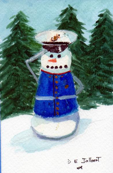 A snowman who is a Marine