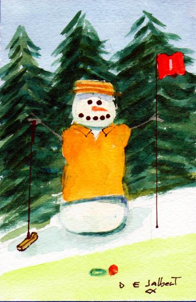 A Snowperson Golfer