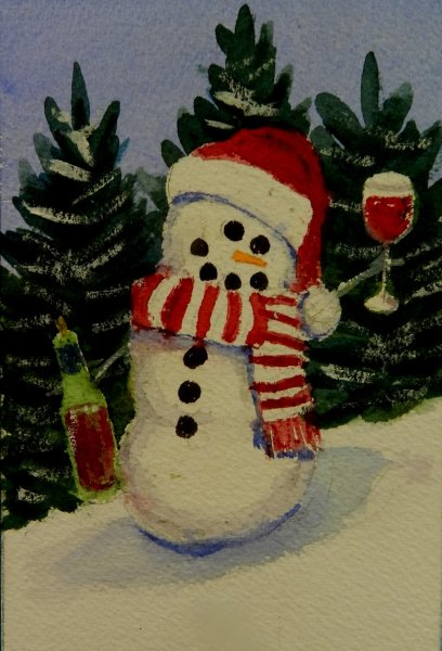 A Snow person drinking wine