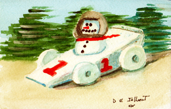 Race Car driver Snow person