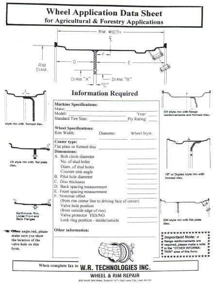 Wheel Application Form