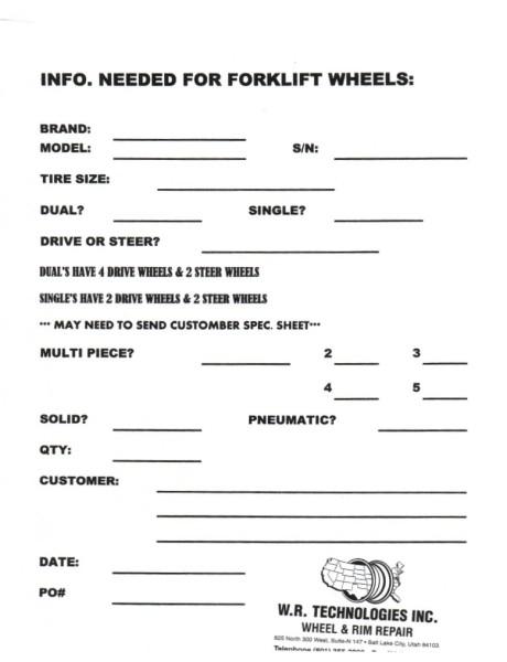 Forklift Application Form