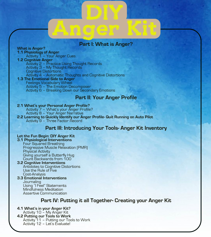 DIY Anger Kit, anger management, workbook, selfhelp book, anger kit, anger, scarborough counselling, cognitive behavioural therapy