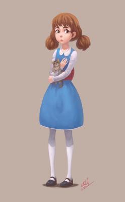 girl cat cute ponytails dress