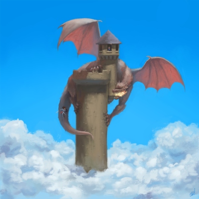 dragon, tower, knight, sky