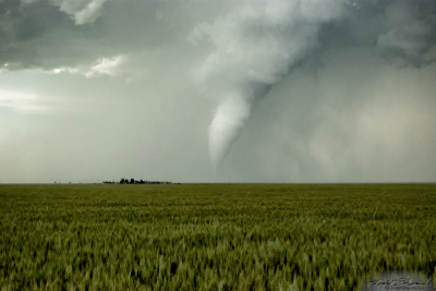 A white tornado is seen over the Oklahoma panhandle on May 31, 2010.