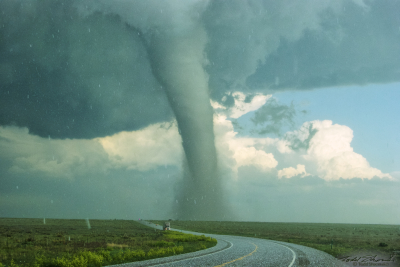 "An ""elephant trunk"" tornado crosses U.S. Highway 385 in southeastern Colorado on May 31, 2010."