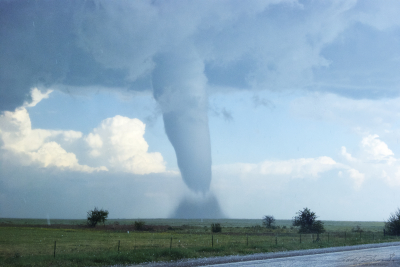 Another (second of storm's lifecycle) tornado develops from a cyclic supercell over southeastern Colorado on May 31, 2010.