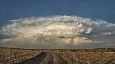 A distant supercell propagates into southeast New Mexico.