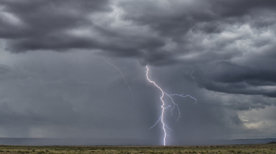 A daytime bolt of lightning seen in central New Mexico near Mesita.