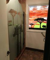 Shower with decorative door