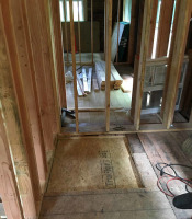 Roughed in area for no-curb shower