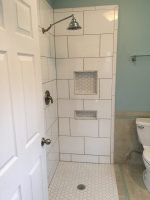 No-curb tiled shower