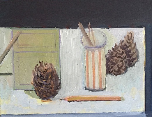 Pencils, Vase and Three Pine Cones
