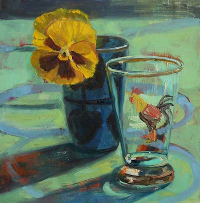 Yellow Pansy, Rooster Glass