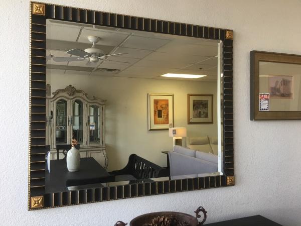 Mirror black gold frame