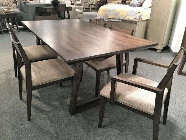 "7 pc. dining set, 72"" table, Rubberwood solids, Mindi veneer"