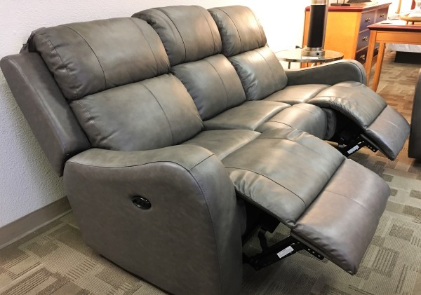 Leather sofa power recliner