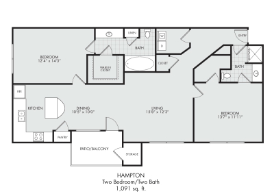 Hampton-Two Bedroom/Two Bath---1,091 sq.ft.