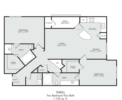 Terrell-Two Bedroom/Two Bath---1,150 sq.ft.