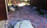 Brick-like pavers used for walkway