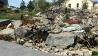 Waterfall feature with plantings