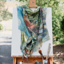 silk scarves, art on scarf, a healdsburg