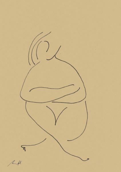 Female Gaze Croquis Art Print by George Sand Studio