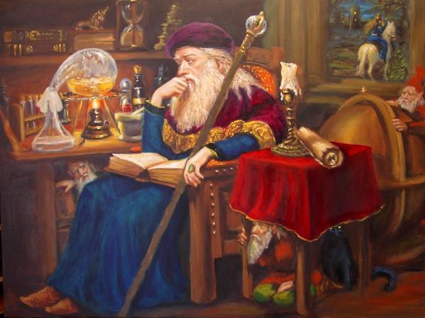 Alchemist making the Elixir of Life
