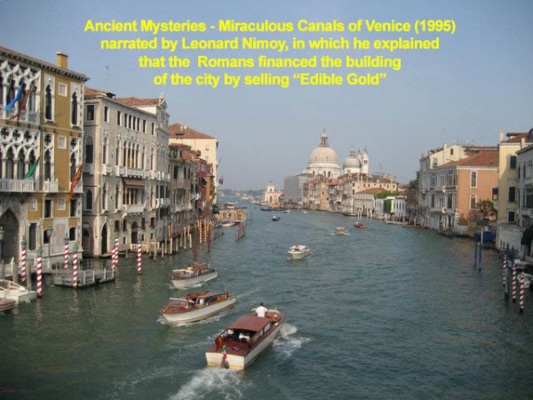 Canals of Venice Financed with the sale of edible gold