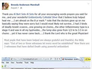 Brenda Anderson Marshall Testimonial on Colloidal Silver