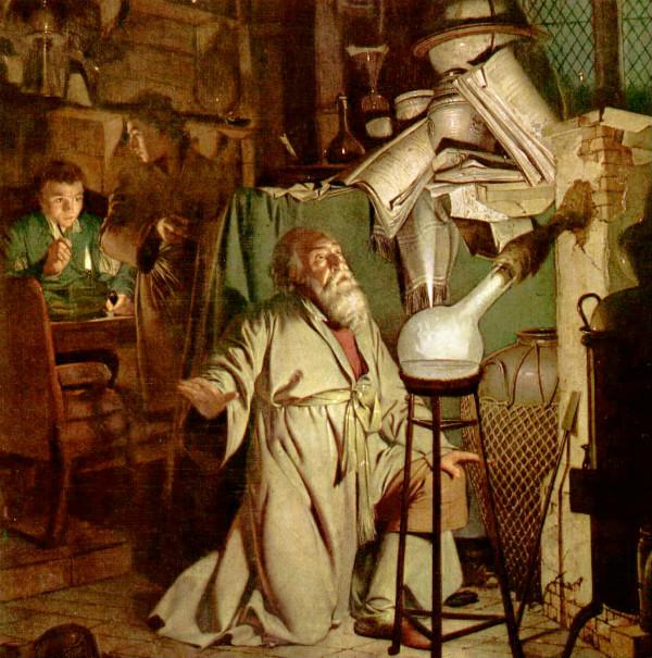Alchemist kneeling