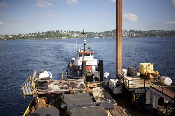 Working with the derrick barge Columbia at the 520 Floating Bridge project.