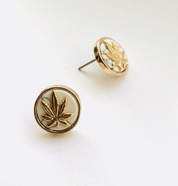 """alt= """"marijuana leaf gold stud earrings"""""""