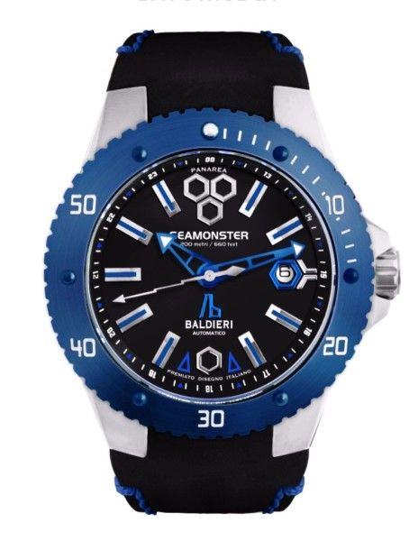 inox,watches, seamonster, alessandro baldieri, man watch, 38mm, black dial, diving watch,