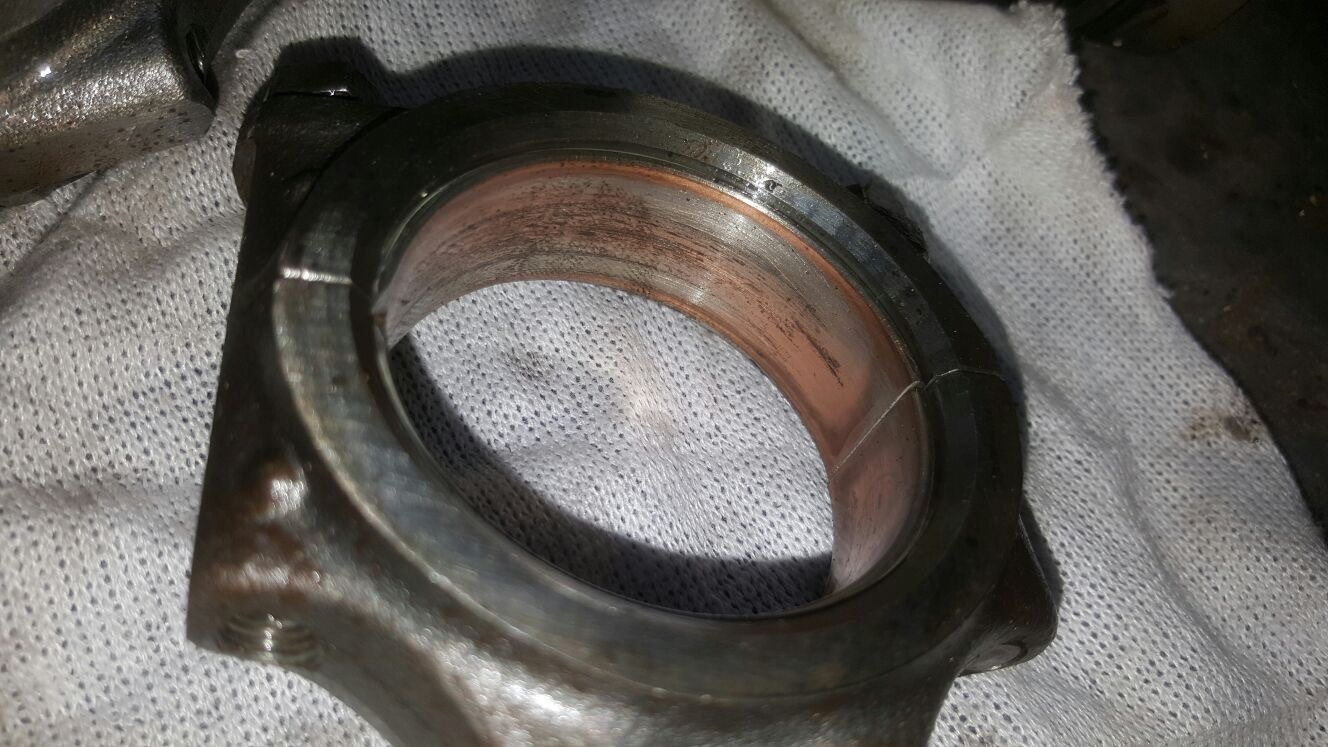 End result of sea water flooding of crankcase. Soft metal eroded away