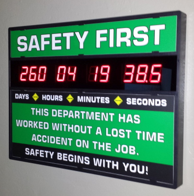 Standard 3 Digit Days Safety Sign Clock $335