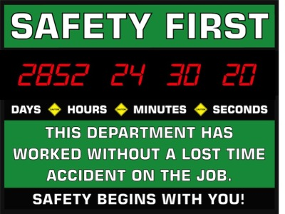 Caution Safety Sign 4 Digit Days Safety Sign Clock $335