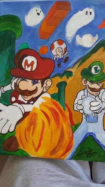 mario and friends on canvas