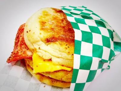 Veg Egg & Bacon English Muffin             $7.95