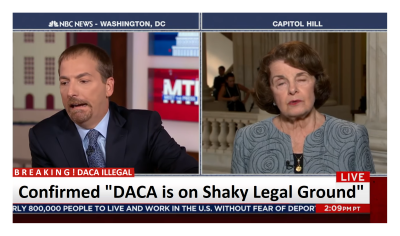 Feinstein Slips and Says DACA Illegal! Chuck Todd Confirms Twice!