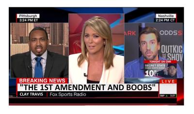 """""""The 1st Amend. And Boobs"""" CNN Has on Air Meltdown Because Clay Travis Said Boobs!"""