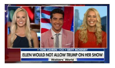 """Your Loss Ellen"" Tomi Lahren Says Trump is the Show. He Does Not Need Ellen's."